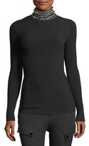 Alexander Wang Crystal-Trim Ribbed Turtleneck Sweater