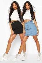 boohoo 2 Pack Micro Mini Denim Skirt