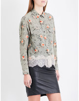 The Kooples Floral silk-crepe de chine shirt