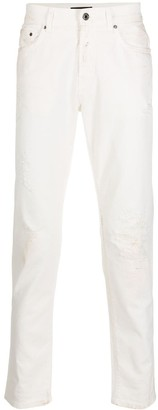 B Used Distressed Straight-Leg Jeans