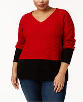 NY Collection Plus Size Colorblocked V-Neck Sweater