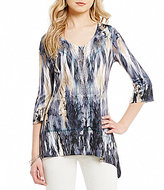 One World Apparel Printed Lace Insert Bling Asymmetrical Top