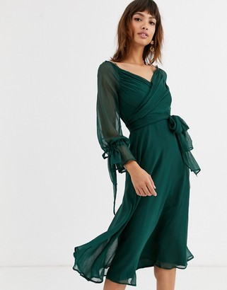 Asos Design DESIGN midi dress with layered skirt and wrap waist with lace trim detail-Green