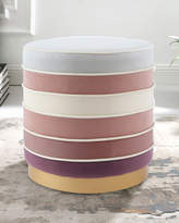 Nicole Miller Striped Velvet Ottoman with Piping