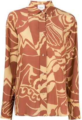 Alysi Abstract-Print Buttoned Silk Shirt