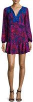 BCBGMAXAZRIA Long-Sleeve Flounce-Hem Mini Dress, Plum