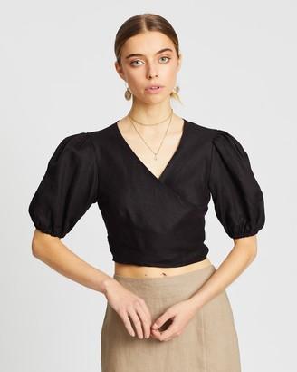 Aere Short Sleeve Linen Wrap Top