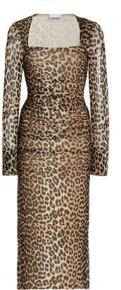 Ganni Ruched Leopard-Print Mesh Midi Dress