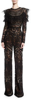 Naeem Khan Long-Sleeve Lace-Embroidered Jumpsuit