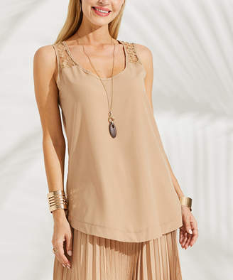 Suzanne Betro Women's Tank Tops 101TAUPE - Taupe Lace-Yoke Sleeveless Tunic - Women