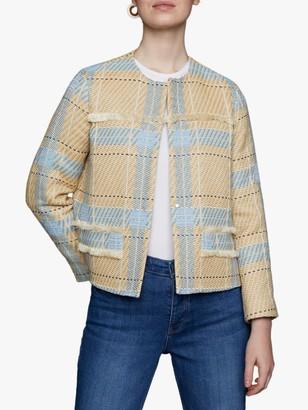 Jigsaw Tweed Fringe Jacket, Blue/Natural