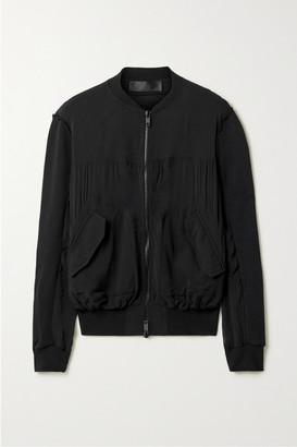 Haider Ackermann Silk-blend Crepe De Chine And Cotton-terry Bomber Jacket - Black