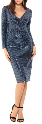 Betsy & Adam Holo Metallic Print Long Sleeve Knit Cocktail Dress