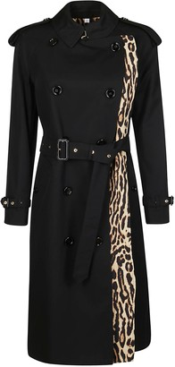 Burberry Leopard Print Detail Belted Trench Coat