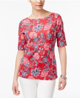 Karen Scott Elbow-Sleeve Printed Boatneck Top, Only at Macy's
