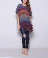 Paparazzi Burgundy & Brown Stripe Fringe Cape-Sleeve Sweater