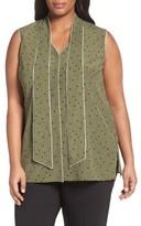 Lafayette 148 New York Plus Size Women's Dana Print Silk Tie Neck Blouse