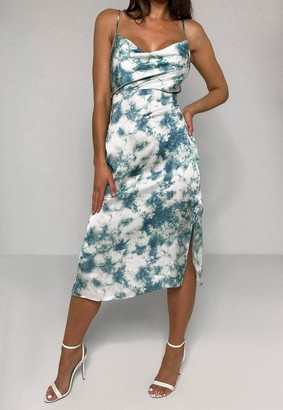 Missguided Blue Satin Tie Dye Cami Slip Midi Dress