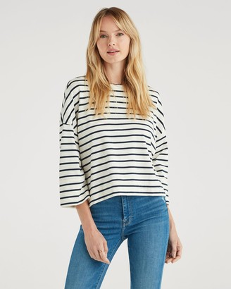 7 For All Mankind Ruched Sleeve Tee in Classic Navy Stripe