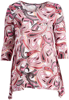 Glam White & Burgundy Paisley Sidetail Tunic - Plus