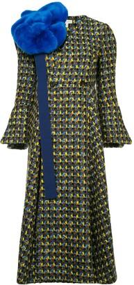 DELPOZO Detachable Faux Fur Bow Double Breasted Coat