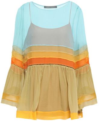 Alberta Ferretti Gathered Color-block Silk-georgette Blouse