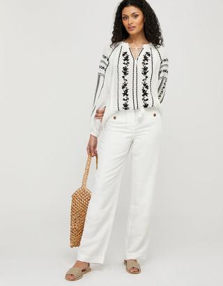 Monsoon ASHOKA Sienna Embroidered Blouse in LENZING ECOVERO Ivory