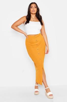 boohoo Plus Rib Button Front Split Maxi Skirt