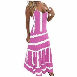 Gofodn Maxi Dresses for Women UK Sexy Plus Size Summer V Neck Sleeveless Bohemia Tie-dye Printing Beach Long Dresses Red