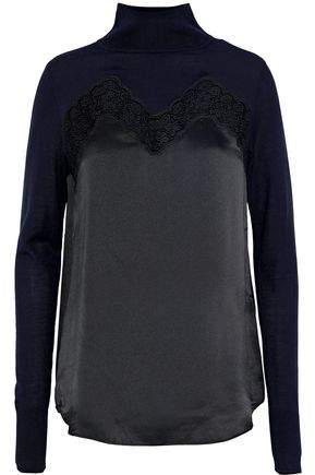 Sandro Prudi Lace And Silk Satin-Paneled Wool Turtleneck Top
