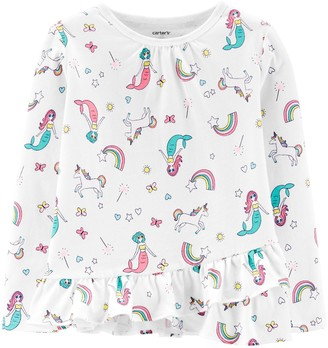 Carter's Toddler Girl Mermaids & Unicorns Ruffle Tee