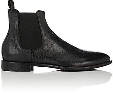 Barneys New York Men's Washed Leather Chelsea Boots - Black