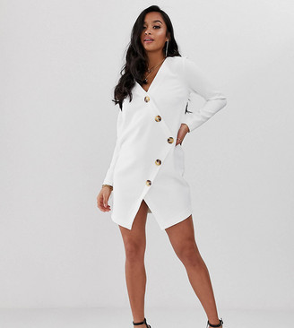 Asos DESIGN Petite asymmetric shift mini dress with tortoiseshell buttons-White