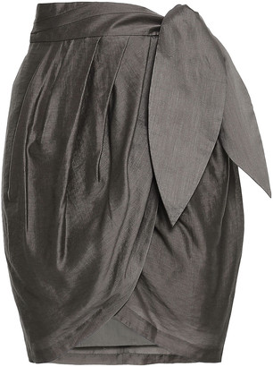 Joie Draped Satin Mini Wrap Skirt
