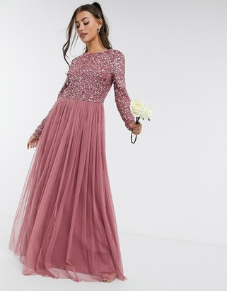 Maya delicate sequin long sleeve maxi dress with tulle skirt in rose