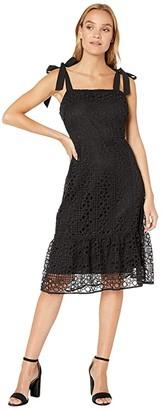 Sam Edelman Circle Lace Sheath Dress (Black) Women's Dress