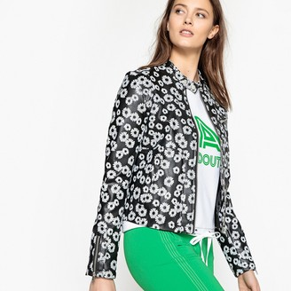 La Redoute Collections Floral Print Faux Leather Jacket