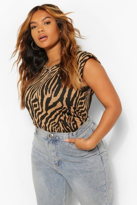 boohoo Plus Tonal Zebra Print Shoulder Pad T-shirt