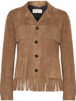 Saint Laurent Curtis Fringed Suede Jacket - Brown