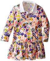 Fendi Long Sleeve Collar Dress w/ All Over Monster Print Girl's Dress