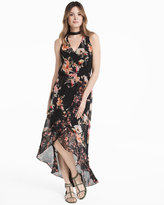 White House Black Market Choker Neck Floral Maxi Dress