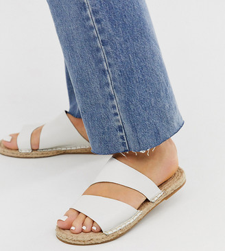 Asos DESIGN Wide Fit Vienna leather espadrille flat sandals in white