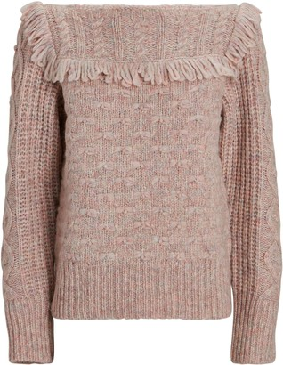 LoveShackFancy Kingston Fringed Crewneck Sweater