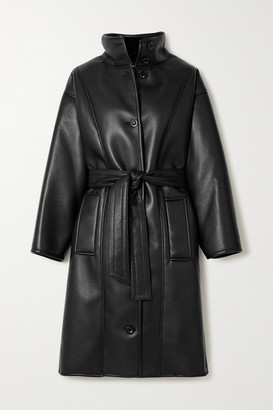 Stand Studio Kristina Faux Shearling-lined Faux Leather Coat - Black