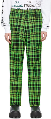 S.R. STUDIO. LA. CA. Green Open-Weave Check Trousers