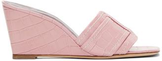 STAUD Pink Croc Sylvie Wedge Sandals