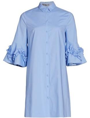 Lela Rose Cotton Poplin Ruffle-Detail Shirtdress