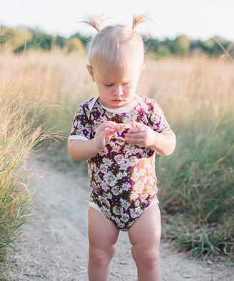 Milkbarn Girls' Infant Bodysuits Purple - Purple Floral Organic Bodysuit - Infant