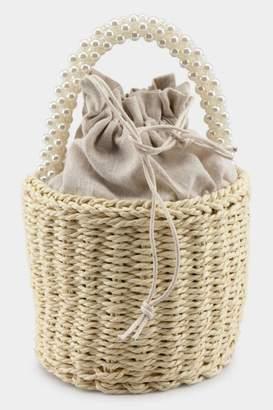 francesca's Raquel Pearl Handle Basket Tote - Natural