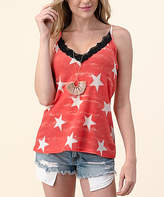 Blumin Women's Tank Tops Red - Red & White Star Lace-Trim Camisole - Women & Plus